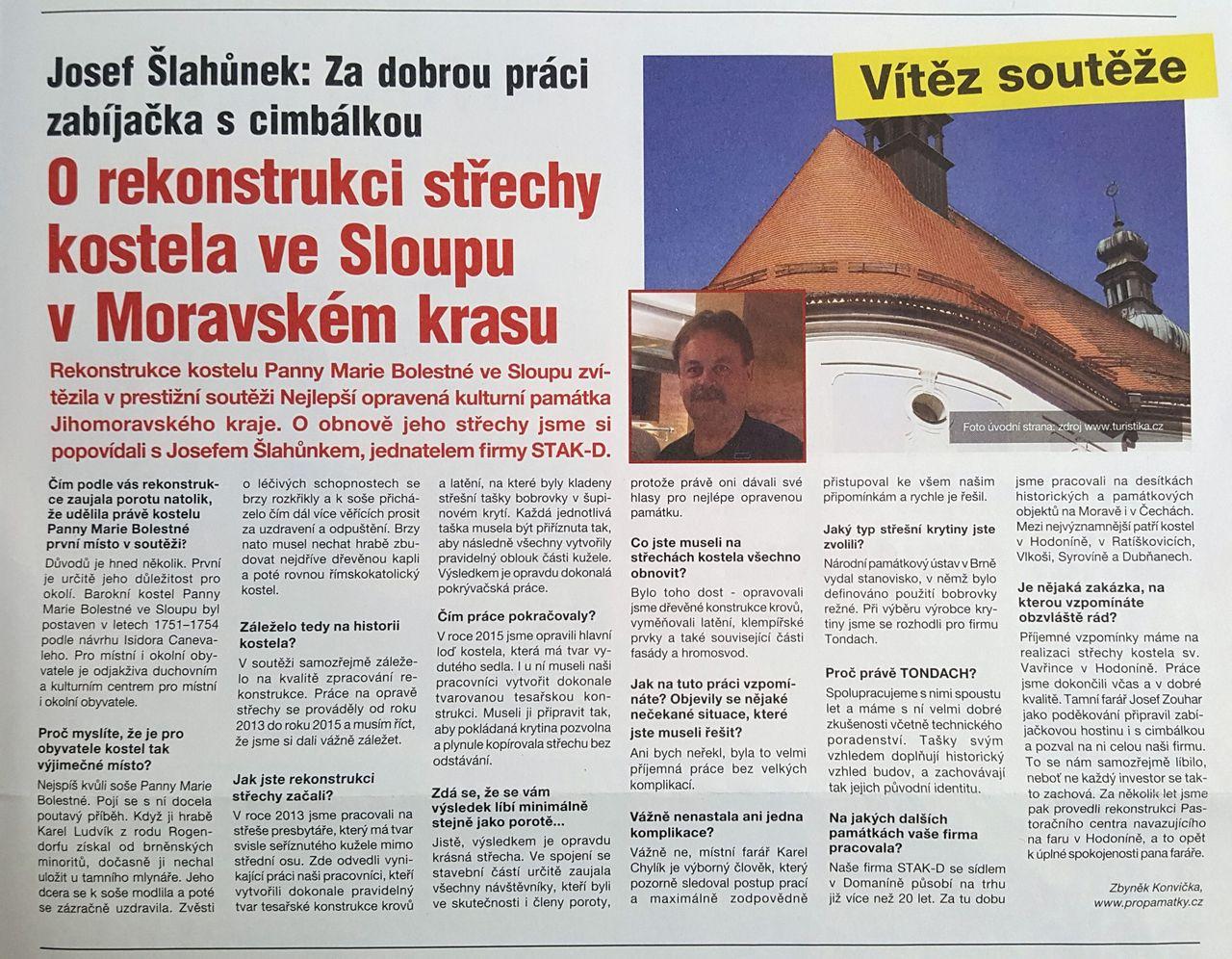 foto - O REKONSTRUKCI STŘECHY KOSTELA VE SLOUPU V MORAVSKÉM KRASU