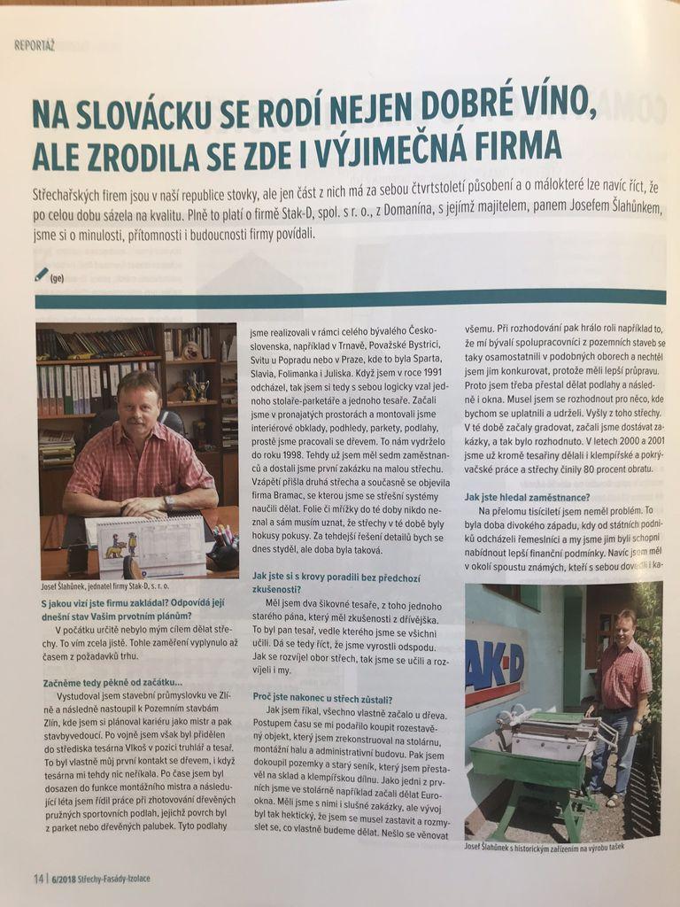 foto - Rozhovor s ředitelem firmy STAK-D panem Josefem Šlahůnkem v časopise Střechy