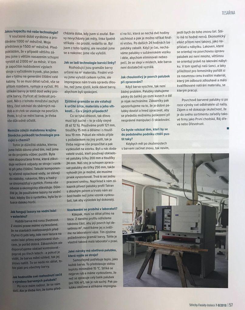 foto - Barvené palubky v časopise Střechy 7-8/2018